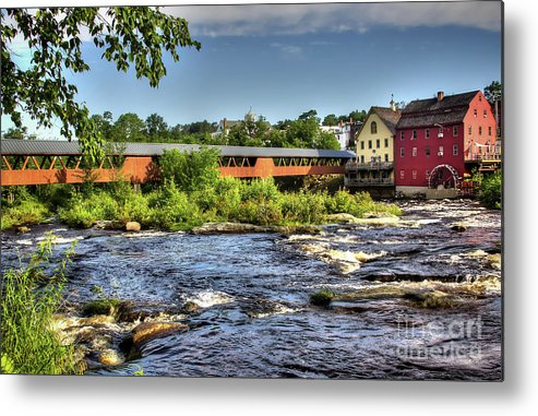 Covered Bridge In Littleton Nh Metal Print featuring the photograph The River Walk Bridge by Diana Nault