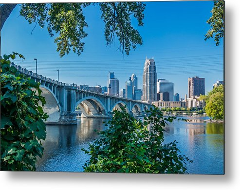 Third Avenue Bridge; Bridge; Mississippi River; St. Anthony Riverplace; Minneapolis Metal Print featuring the photograph Third Avenue Bridge Over Mississippi River by Lonnie Paulson
