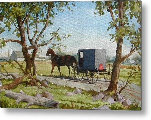Landscape Metal Print featuring the painting This Side of Paradise by Faye Ziegler