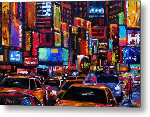 New York City Metal Print featuring the painting Times square by Debra Hurd