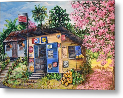 Trinidad And Tobago Shop Metal Print featuring the painting Trinidad Country Parlour by Karin Dawn Kelshall- Best