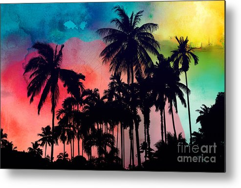 Metal Print featuring the painting Tropical Colors by Mark Ashkenazi