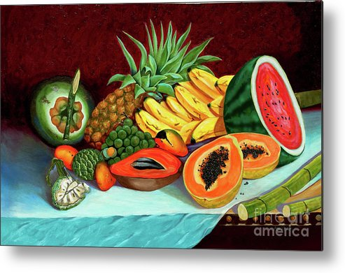 Coconut Metal Print featuring the painting Tropical Fruits by Jose Manuel Abraham
