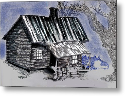 Cabin Metal Print featuring the drawing Under a Tin Roof by Seth Weaver