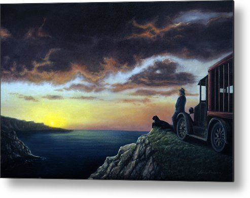 Ocean Metal Print featuring the painting Viewing The Bay by Lance Anderson