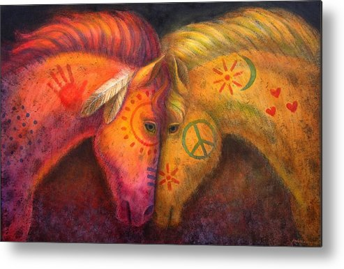 Horse Metal Print featuring the painting War Horse and Peace Horse by Sue Halstenberg