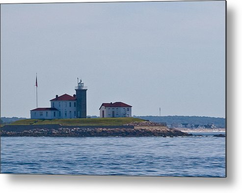 Lighthouse Boat Sea Building Mooring Water Navigation Metal Print featuring the photograph Watch Hill Light 1 by Arthur Sa