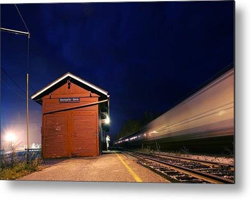 Darin Volpe Railroad Metal Print featuring the photograph Watching The Night Train - Montpelier Junction Vermont by Darin Volpe