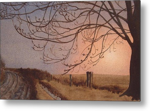 Landscape Metal Print featuring the painting Wet Spring Soft Sunset by Lynn ACourt