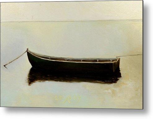 Landscape Boat Quiet Light Metal Print featuring the painting White Day by Raimonda Jatkeviciute-Kasparaviciene