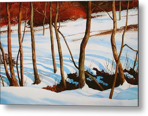 Landscape Metal Print featuring the painting Winter Shadows by Faye Ziegler