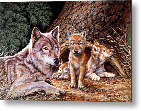 Wolf Metal Print featuring the painting Wolf Den by Richard De Wolfe