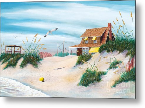 Beach Metal Print featuring the painting Yellow Beach Ball by Hugh Harris
