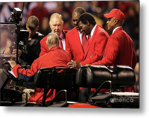 Red Schoendienst Metal Print featuring the photograph 2011 World Series Game 6 - Texas by Jamie Squire