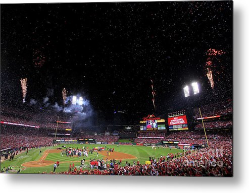 American League Baseball Metal Print featuring the photograph 2011 World Series Game 7 - Texas by Doug Pensinger