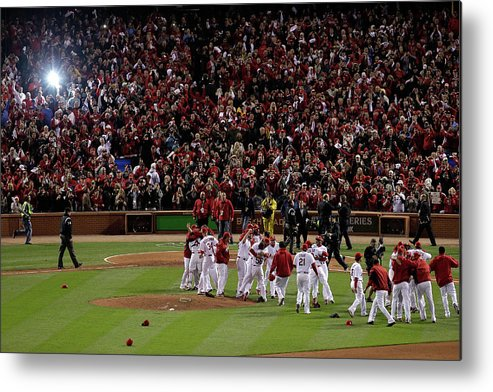 St. Louis Cardinals Metal Print featuring the photograph 2011 World Series Game 7 - Texas by Rob Carr