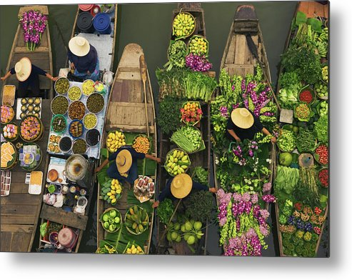 People Metal Print featuring the photograph A Floating Market On A Canal In by Mint Images - Art Wolfe