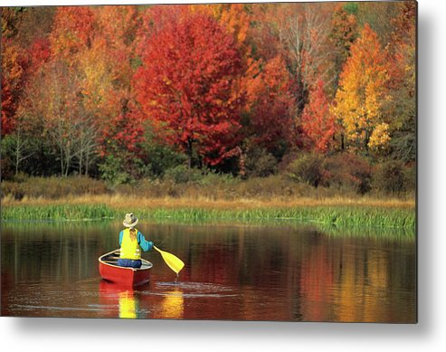 Tranquility Metal Print featuring the photograph A Person Canoeing In Pennsylvania by Beck Photography