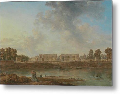 Alexandre-jean Noël Metal Print featuring the painting A View Of Place Louis Xv by Alexandre-Jean Noel