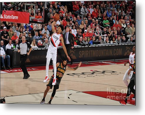Nba Pro Basketball Metal Print featuring the photograph Atlanta Hawks V Portland Trail Blazers by Cameron Browne