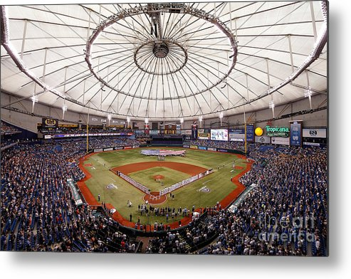 American League Baseball Metal Print featuring the photograph Baltimore Orioles V Tampa Bay Rays by J. Meric