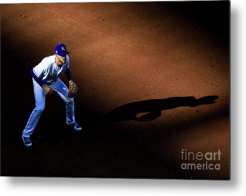 American League Baseball Metal Print featuring the photograph Boston Red Sox V Kansas City Royals by Brian Davidson