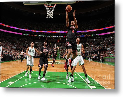 Playoffs Metal Print featuring the photograph Chicago Bulls V Boston Celtics - Game by Brian Babineau