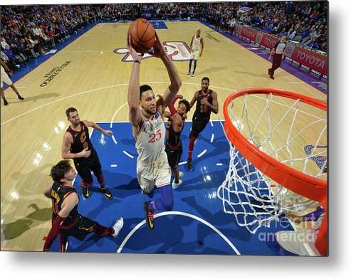 Nba Pro Basketball Metal Print featuring the photograph Cleveland Cavaliers V Philadelphia 76ers by Jesse D. Garrabrant