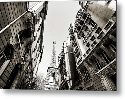 Built Structure Metal Print featuring the photograph Eiffel Tower Between Buildings In by Flory