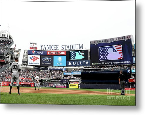 American League Baseball Metal Print featuring the photograph Houston Astros V New York Yankees by Elsa
