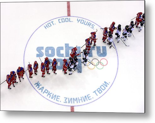 Sochi Metal Print featuring the photograph Ice Hockey - Winter Olympics Day 9 - by Bruce Bennett