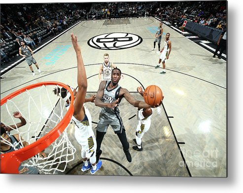 Nba Pro Basketball Metal Print featuring the photograph Indiana Pacers V Brooklyn Nets by Nathaniel S. Butler