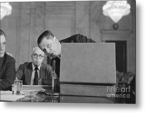 Mature Adult Metal Print featuring the photograph Jimmy Hoffa Testifying Before Senate by Bettmann