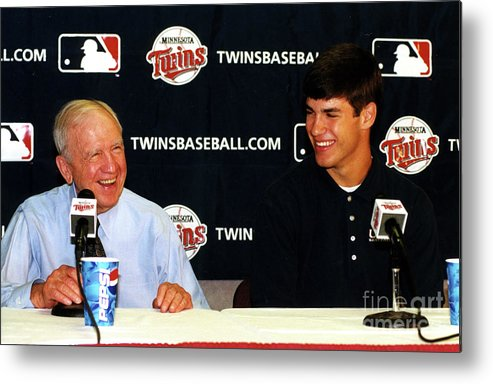 Hubert H. Humphrey Metrodome Metal Print featuring the photograph Joe Mauer Press Conference by Mlb Photos