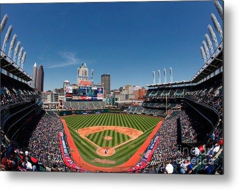 American League Baseball Metal Print featuring the photograph Kansas City Royals V Cleveland Indians by Joe Robbins