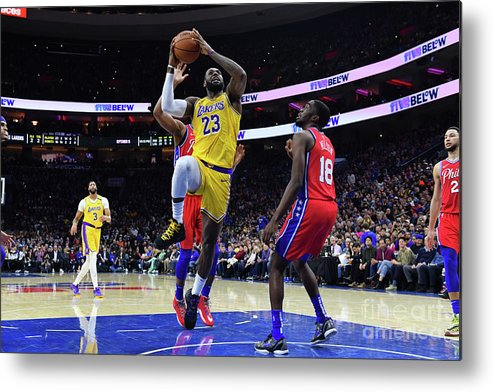 Nba Pro Basketball Metal Print featuring the photograph Kobe Bryant And Lebron James by Jesse D. Garrabrant