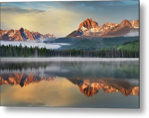 Scenics Metal Print featuring the photograph Little Redfish Lake, Sawtooth Mountains by Alan Majchrowicz