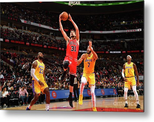 Nba Pro Basketball Metal Print featuring the photograph Los Angeles Lakers V Chicago Bulls by Jesse D. Garrabrant