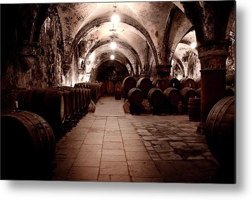 Arch Metal Print featuring the photograph Medieval Wine Cellar by Ollo