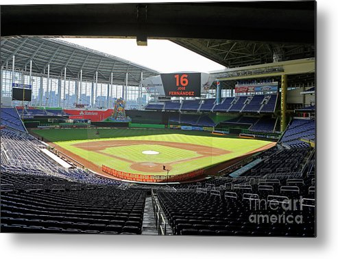 American League Baseball Metal Print featuring the photograph Miami Marlins News Conference by Joe Skipper