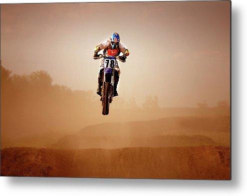 Crash Helmet Metal Print featuring the photograph Motocross Rider by Design Pics
