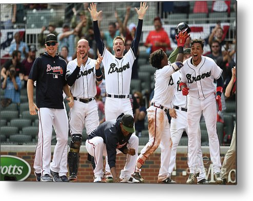 Atlanta Metal Print featuring the photograph New York Mets V Atlanta Braves - Game by Scott Cunningham