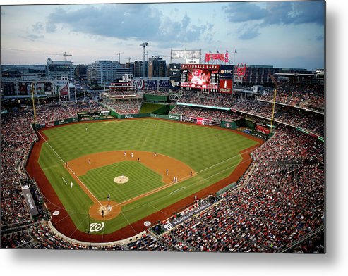 American League Baseball Metal Print featuring the photograph New York Mets V Washington Nationals by Rob Carr