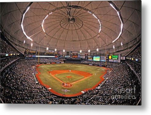American League Baseball Metal Print featuring the photograph New York Yankees V Tampa Bay Rays by Al Messerschmidt
