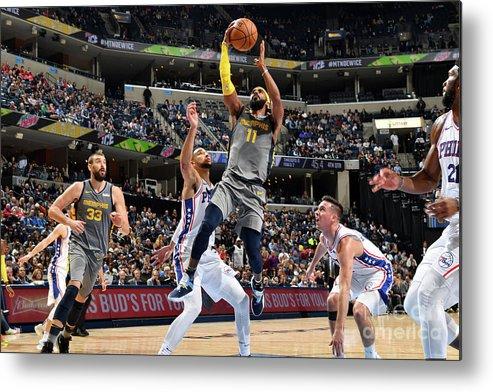 Nba Pro Basketball Metal Print featuring the photograph Philadelphia 76ers V Memphis Grizzlies by Jesse D. Garrabrant