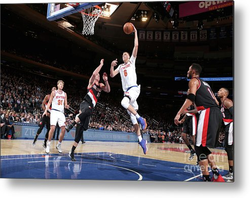 Nba Pro Basketball Metal Print featuring the photograph Portland Trail Blazers V New York Knicks by Nathaniel S. Butler
