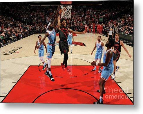 Nba Pro Basketball Metal Print featuring the photograph Sacramento Kings V Portland Trail by Cameron Browne