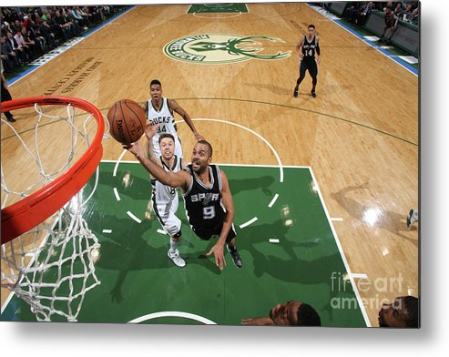 Nba Pro Basketball Metal Print featuring the photograph San Antonio Spurs V Milwaukee Bucks by Gary Dineen