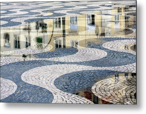 Curve Metal Print featuring the photograph Sidewalk In Lisbon, Portugal by Typo-graphics