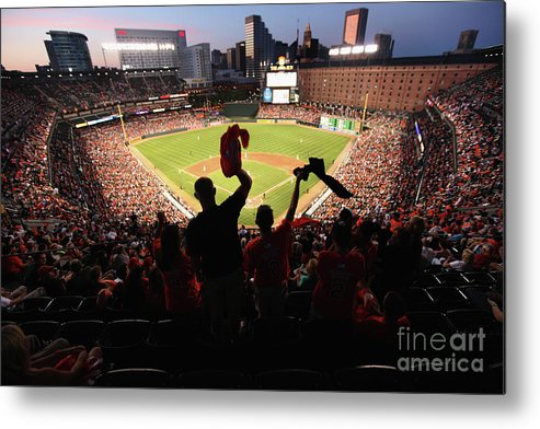 American League Baseball Metal Print featuring the photograph St. Louis Cardinals V Baltimore Orioles by Rob Carr